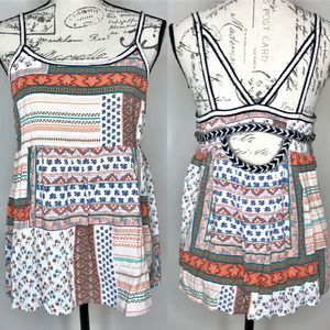 SKIES ARE BLUE Patchwork Flowy Strappy Top